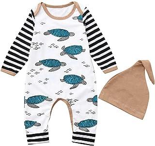 XXYsm Unisex Baby Strampler Set Overalls  Hut Outfits Junge Mädchen Winter Langarm Schildkröte gestreift Jumpsuit