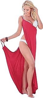 Boldgal Women's Polyester Swimwear Spaghetti Strap Sarong (Red, Medium)