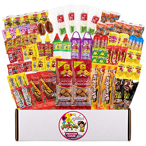Pinata Mexican Candy Box - Sweet and Sour - 73 Pack - 3 Pounds - Authentic Mexican Candy Assortment - Dulces Mexicanos Variety Pack - Candies Mix with Pelos, Muecas, Pulparindo, Limon7, and More (Spicy Sour Mix, 3 Pounds)