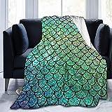 AEMAPE Manta de Tiro Escamas de Colores Manta Suave de Franela cálida para Cama Sofá Silla Manta de Cama Ligera, para Todas Las Estaciones
