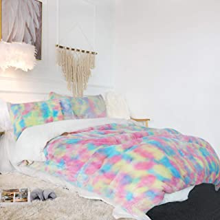 Sleepwish Unicorn Fuzzy Bedding Faux Fur Bedding Set Twin Full Queen King Size Rainbow Pastel Pink Purple Blue Sherpa Plush Duvet Cover with 2 Pillow Shams Ultra Soft and Comfortable Cute Room Decor