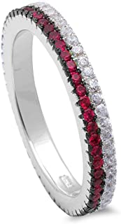 3mm Full Eternity Stackable Thin Double Row Band Ring Simulated Ruby Round CZ 925 Sterling Silver