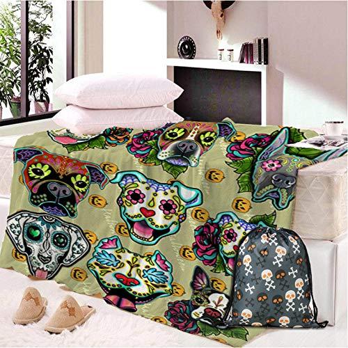Pmhhc Skull Dog Custom Made Pluche deken druk Sherpa deken voor bed DIY Thin Quilt