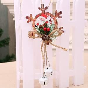 LIANGchueng Advanced Professional creation Christmas Bell Wooden Door Tree Hanging Pendant novel Creative Celebrate None