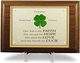 Clovers Online Walnut Plaque with a Genuine Four Leaf Clover