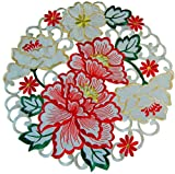 EcoSol Designs Flowery Table Placemats (15' Round, Christmas Colors) 4-Pack