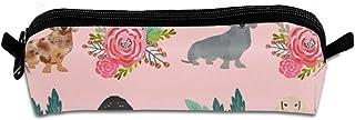 Doxie, astuccio in tela, motivo floreale con ghirlanda di fiori, bassotti, portapenne, portapenne, cancelleria, organizer ...