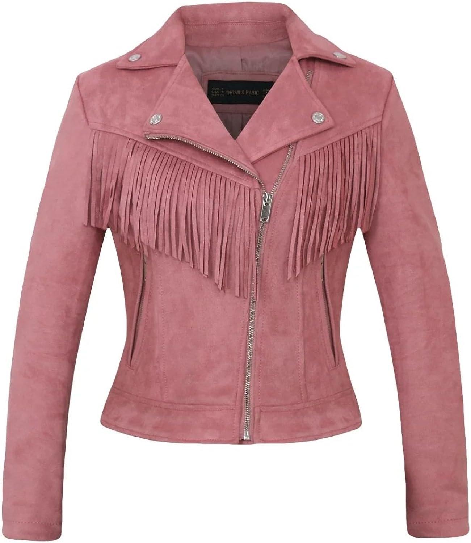 Women's Faux Leather Suede Tassels Long Sleeved Jacket Coat 2colors