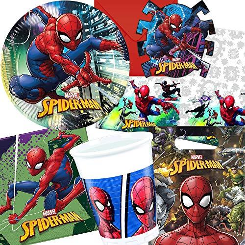 Procos/Carpeta 101-tlg. Party-Set * Spiderman - Team UP * für Kindergeburtstag und Mottoparty | mit Teller + Becher + Servietten + Einladungen u.v.m. | Kinder Motto Geburtstag Deko Superheld Marvel