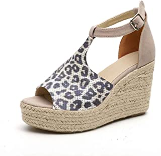 61f0d4ebb51 JJLIKER Women Chunky Platform Wedges Sandals Peep Toe Ankle Buckle Strap  Shoes Espadrille Non-Slip