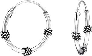 """~ 1/"""" 1 paire Véritable 925 Sterling Silver 25 mm Endless Hoop Boucles d/'oreilles 1.2 mm"""