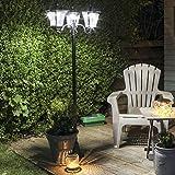 Lampadaire Solaire LED Extérieur en Aluminium Noir 3 Têtes - Produit Waterproof pour le Jardin - Intensité Réglable 108 Lumens...