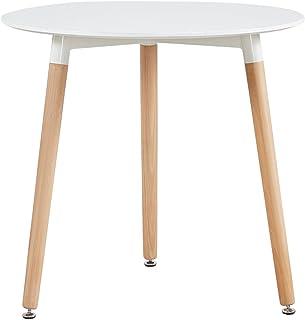 H.J WeDoo Table à Manger Ronde scandinave Blanche 80 * 80 * 72 cm