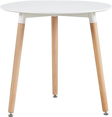 EGGREE Ronde Table Salle à Manger Scandinave Table de Cuisine 80 x 80 CM Blanche