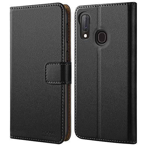HOOMIL Handyhülle für Samsung Galaxy A20e Hülle Leder Tasche Flip Hülle Schutzhülle Kompatibel mit Samsung A20e Hülle Schwarz