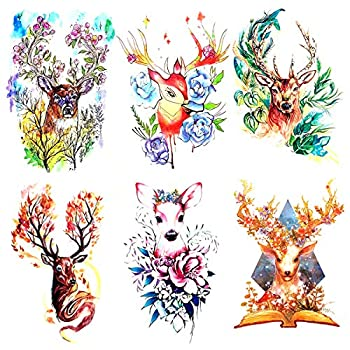 Oottati 6 Pieces Large Arm Watercolor Sika Deer Flower Leaf Rose Pink Temporary Tattoo
