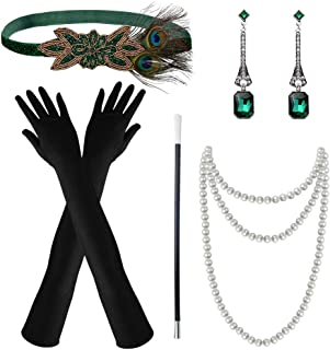 Marrywindix 1920s Accessories Headband Necklace Gloves Cigarette Holder Flapper Costume Accessories Set for Women (Green)