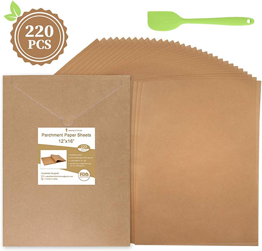 220 Pcs Parchment Paper Sheets 12 X 16 Inches Unbleached Precut Parchment Paper For Baking With An Oil Scraper Bonus Will Not Curl Stick Burn Convenient Cardboard Envelope Packaging