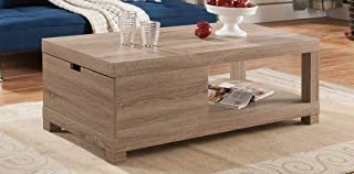 """Major-Q 16"""" H Modern Contemporary Style Coffee Table Distressed Wood Finish with Open Shelve and a Drawer, Id80151221ct"""