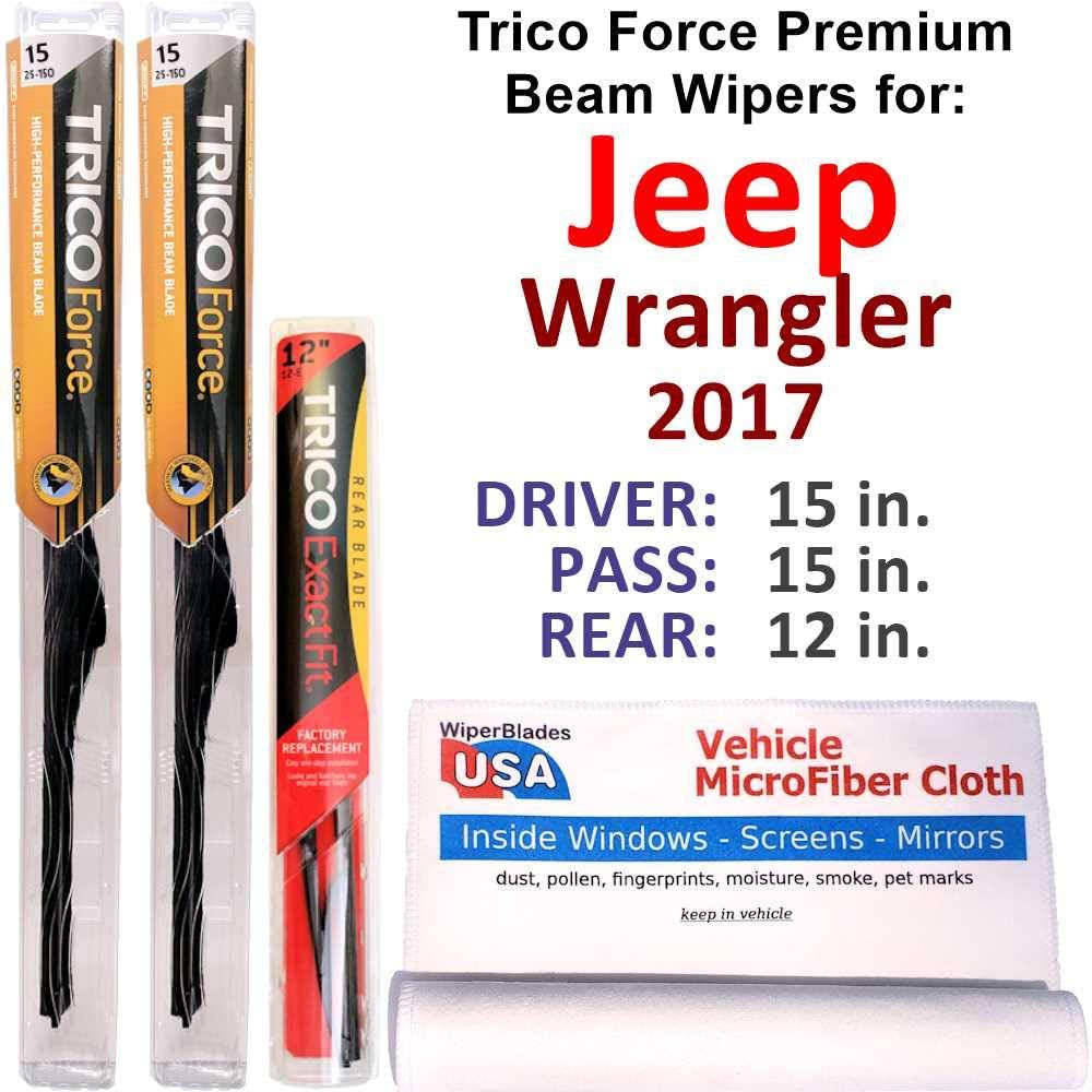 2007-2017 Wrangler Jeep Wipers 3pk Premium Beam Blades Front Rear 19150x2//12E