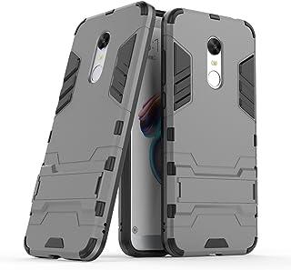 MaiJin Funda para Xiaomi Redmi 5 Plus (5,99 Pulgadas) 2 en 1 Híbrida Rugged Armor Case Choque Absorción Protección Dual Layer Bumper Carcasa con Pata de Cabra (Gris)