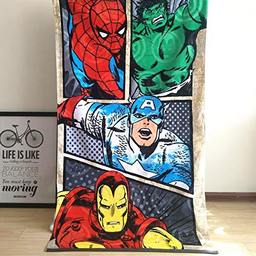 Lily&her friends - Toalla de baño algodón, diseño de Capitán América, Iron Man Spiderman Hulk