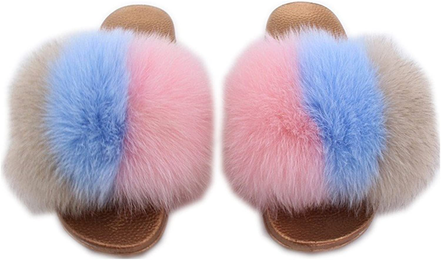 Qmfur Women Real Fox Fur Slides Open Toe Wide Width Comfortable Sole Multicolor On Sandals