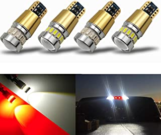 iBrightstar Newest 12-24V Super Bright 194 912 921 168 175 2825 W5W T10 LED Bulbs with projectors For Car Truck 3rd Brake Lamp Cargo Lights, White/Red