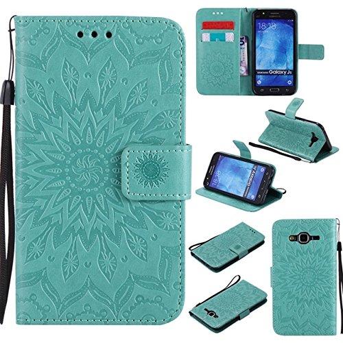Rongjuyi Para Samsung Galaxy J5 2015 PU Cuero Flip Wallet Sun Flower Diseño de impresión Lanyard Funda Protectora con Ranura para Tarjeta/Soporte (Color : Verde)