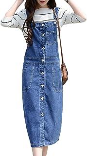 57b18ea5f9d879 Scothen Damen Jeansskirt Jeansrock Minirock Latzrock Rock Jeans Trägerrock  Denim Frauen Damen Mädchen Jeansrock Stretch Kleid