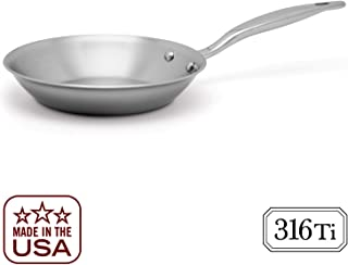 Heritage Steel 8.5 Inch Fry Pan - Titanium Strengthened 316Ti Stainless Steel Pan with 7-Ply Construction - Induction-Ready and Dishwasher-Safe, Made in USA