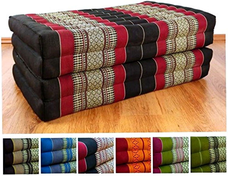 Livasia Kapok Klappmatratze der Marke Asia Wohnstudio, Faltmatratze, Entspannungsmatte für Indoor und Outdoor, optimal als Gstematratze oder Gstebett geeignet, (schwarz rot)