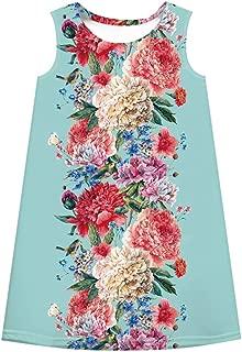 MomentDAY Girl Summer Flower Dress 7-12 Years Teen Big Kids Child Baby Sleeveless Cartoon 3D Digital Print T-Shirt Clothes