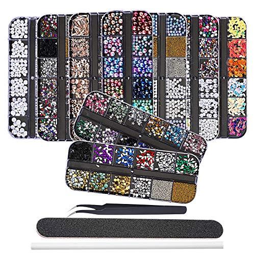 EBANKU 9 Boxen Nail Art Strass Kit Nagelstrass mit 1 Pinzette, mehrfarbige Nagelknöpfe Pferdeauge Strasssteine mit Pinzette, Picking Pen und Nagelfeile für Nail Art Dekorationen