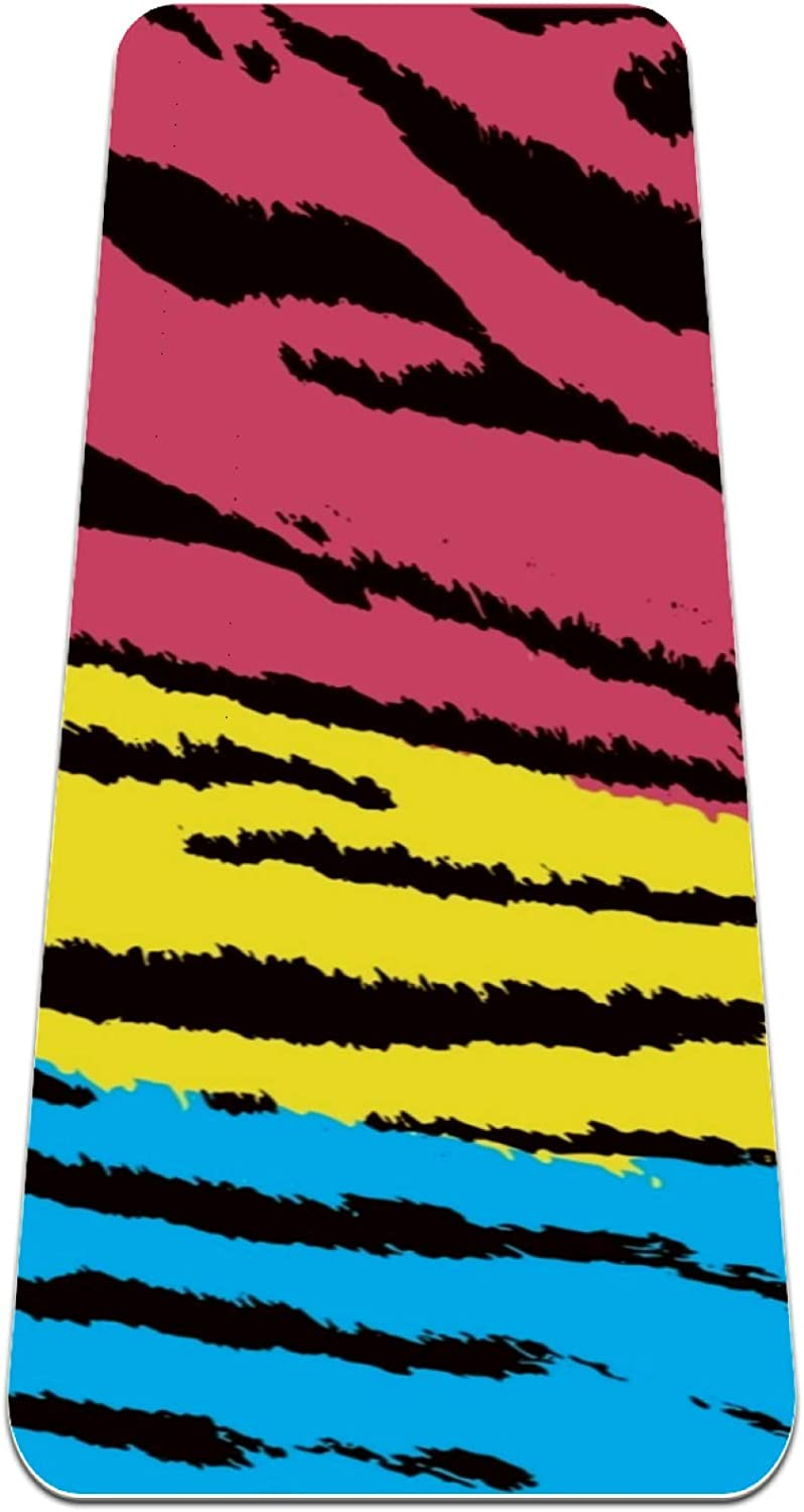 Ranking TOP2 Yoga Directly managed store Mat with Strap Multicolored Extra Thick Texture Double-Side