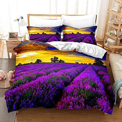 Conjunto de edredón floral, ropa de cama de girasoles, ropa de cama azul y púrpura, cubierta de algodón Cubierta de edredón rosa ropa de cama, diseño elegante de lujo, gran partido con su decoración d