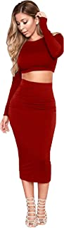 Longwu Women's Sexy Bodycon Bandage Midi Dress Long Sleeve 2 Piece Backless Skirt Party Evening Wear