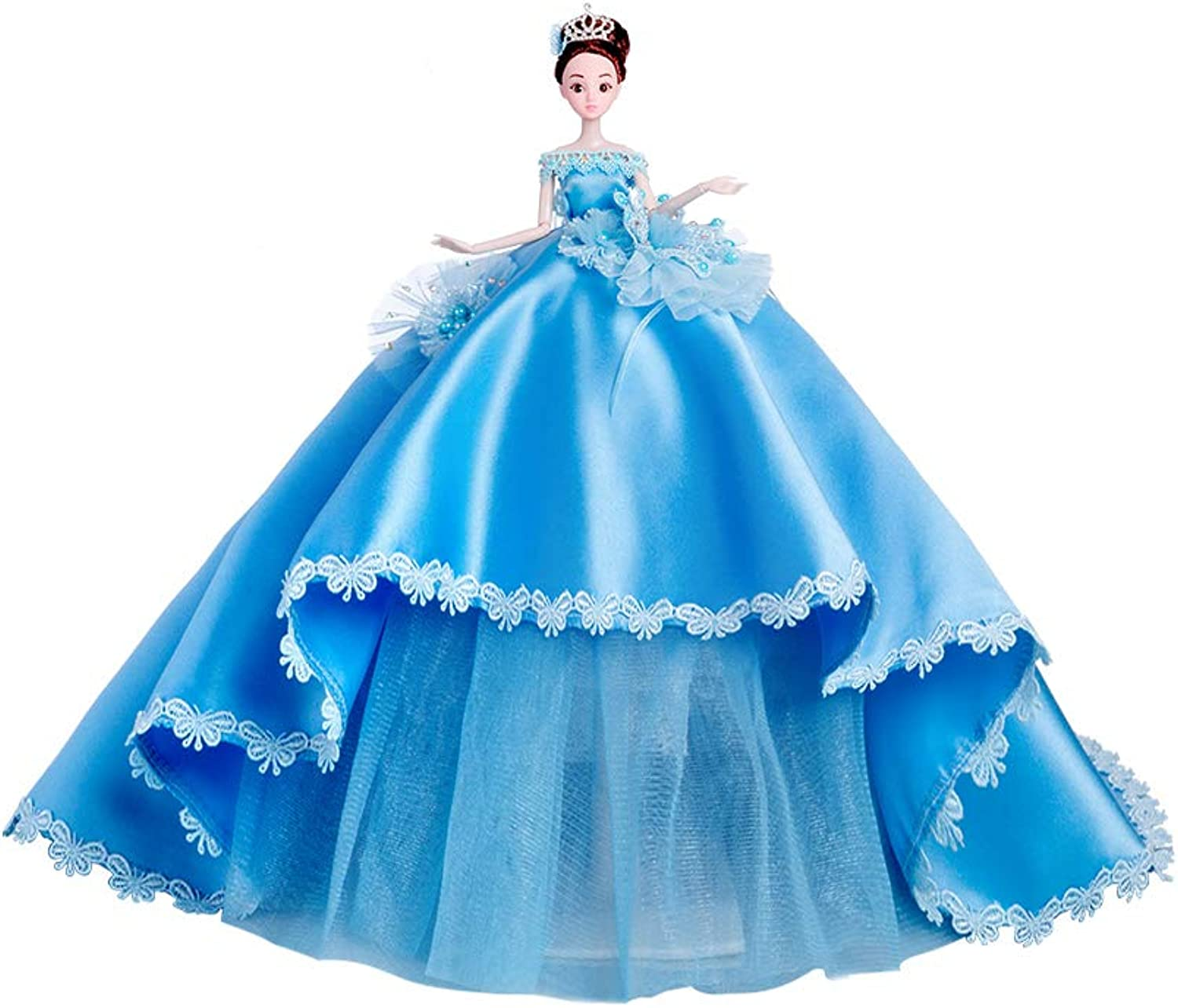 Wedding Dress Can Be Replaced with bluee Big Tail Princess Doll Luxury Girl Birthday Gift
