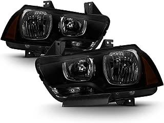 ACANII - For 2011-2014 Dodge Charger R/T SE SRT8 Black Smoke Halogen Headlights Headlamps Set Driver + Passenger Side