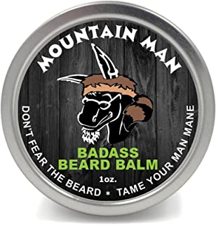 Badass Beard Care Beard Balm - Mountain Man Scent, 1 oz - All Natural Ingredients, Keeps Beard and Mustache Full, Soft and Healthy, Reduce Itchy and Flaky Skin, Promote Healthy Growth