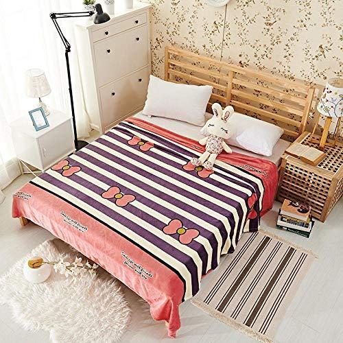 PengMu zachte deken, fluweel, koraal bedrukt, strik zonder vervagen, paarse strepen, machinewasbaar