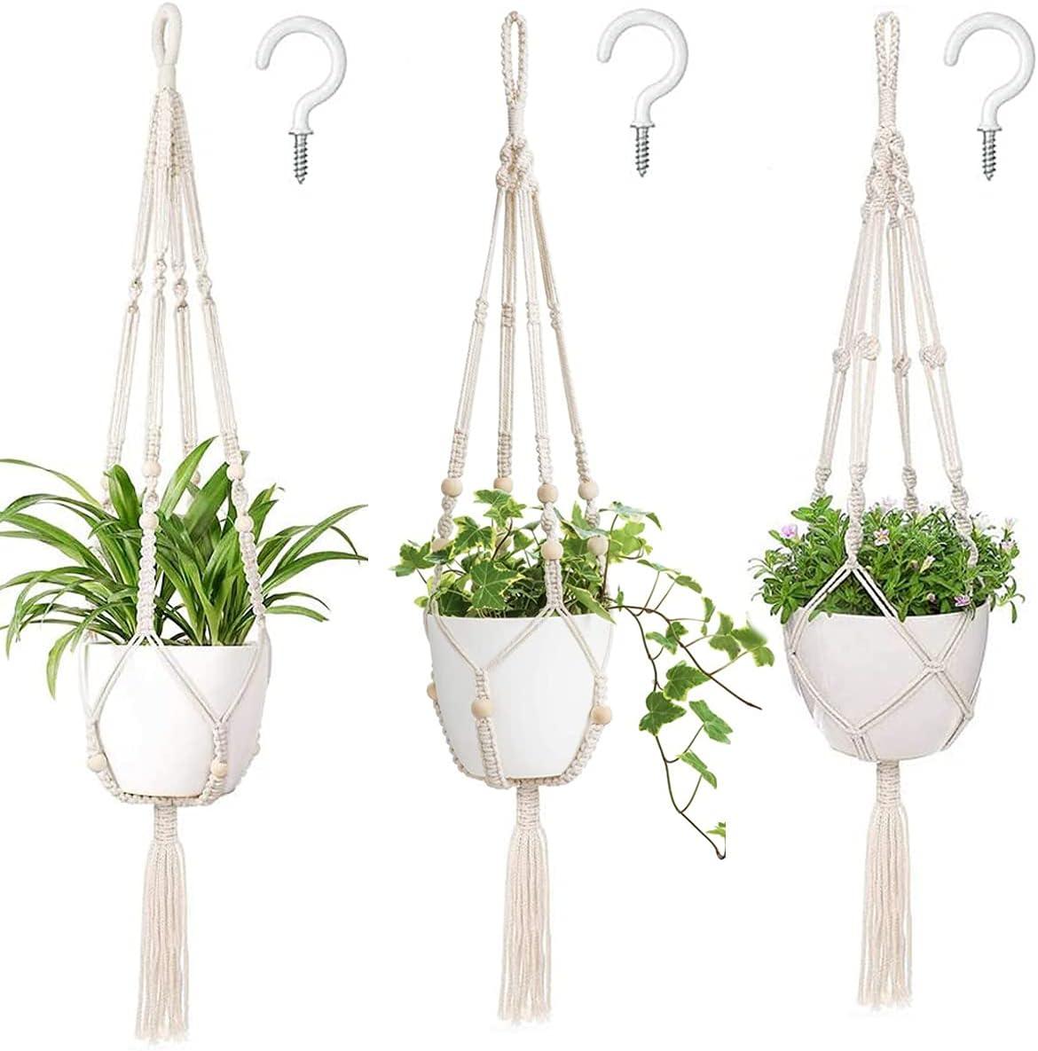 Macrame Plant Hangers 3 Pack Indoor Hanging Nippon regular agency Meta Planters OFFicial shop with