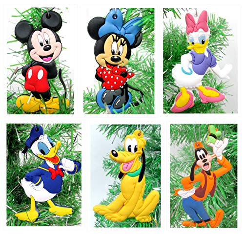 Disney MICKEY MOUSE 6 Piece Ornament Set Featuring Mickey Mouse, Minnie Mouse, Donald Duck, Daisy Duck, Goofy and Pluto, Ornaments Average 2.5' Inches Tall
