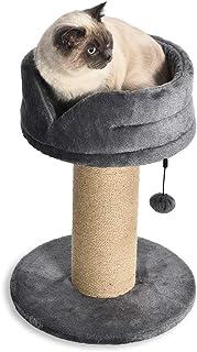 Amazon Basics Arbre à chat en forme de tour avec lit en plateforme et griffoir, taille L - 40,5 x 40,5 x 53,5 cm, Gris