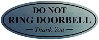 All Quality Oval DO NOT Ring DOORBELL Thank You Sign - Silver Small