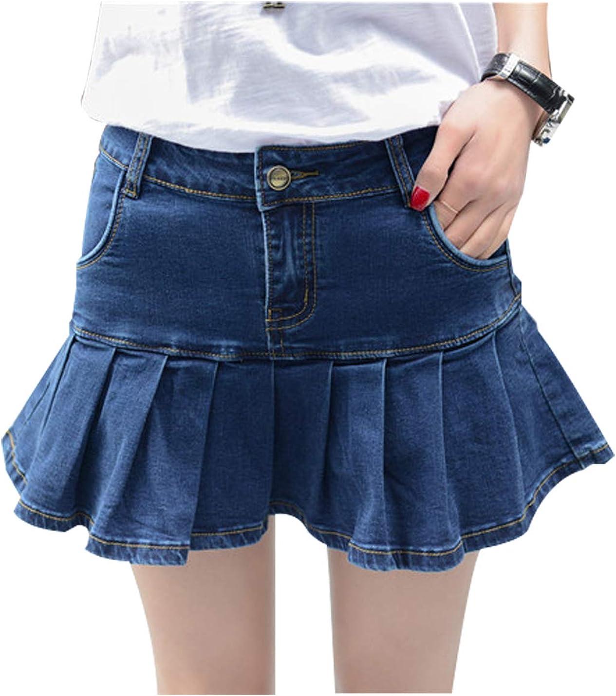 Tanming Women's Fashion Slim A Line Ruffle Swing Pleated Denim Mini Short Skirts (Blue01, S)