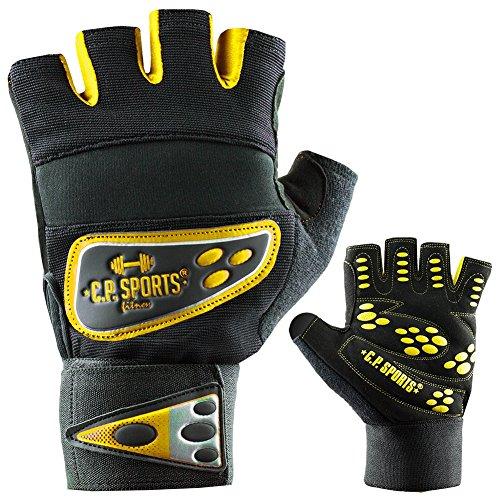 C.P. Sports Profi de Grip de vendas de guante guantes de fitness Amarillo, mujer hombre