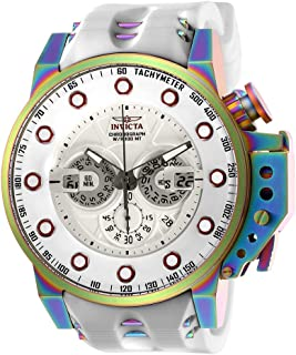 Men's I-Force Stainless Steel Quartz Watch with Silicone Strap, White, 24 (Model: 25277)