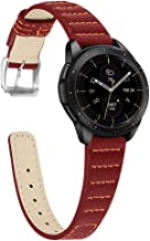 Joyozy Slim Leather Straps Compatible with Samsung Galaxy Watch Bands 42mm, Genuine Leather Wrist Strap Quick Release Replacement Band(Wine Red, 20mm)