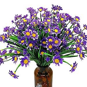 Silk Flower Arrangements Grunyia Artificial Daisy Flowers (Pack of 4) (Blue)
